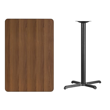 Flash Furniture 30'' x 45'' Rectangular Laminate Table Top, Walnut with 22'' x 30'' Bar Height Table Base (XUWA3045T2230B)