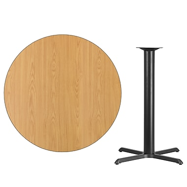 Flash Furniture 42'' Round Laminate Table Top, Natural with 33'' x 33'' Bar-Height Table Base (XURD42NTT3333B)