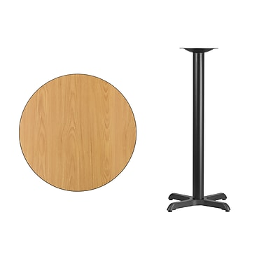 Flash Furniture 30'' Round Laminate Table Top Natural with 22'' x 22'' Bar-Height Table Base (XURD30NTT2222B)