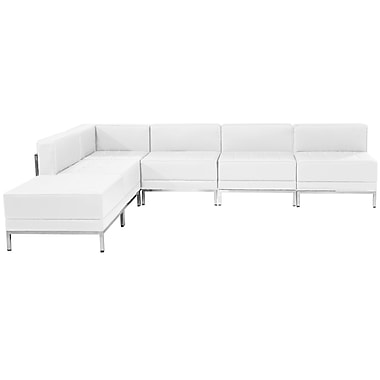 Flash Furniture Hercules Imagination Series White Leather Sectional Configuration, 6 Pieces (ZBIMAGSECSET10W)