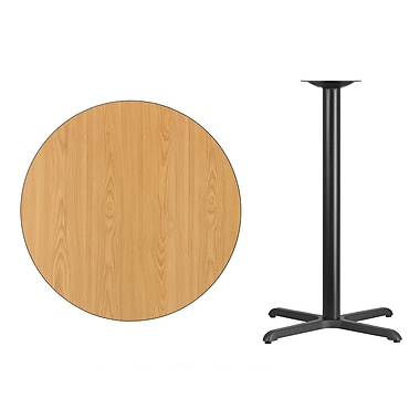 Flash Furniture 36'' Round Laminate Table Top, Natural with 30'' x 30'' Bar-Height Table Base (XURD36NTT3030B)