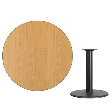 Flash Furniture 42'' Round Laminate Table Top, Natural with 24'' Round Table-Height Base (XURD42NTTR24)