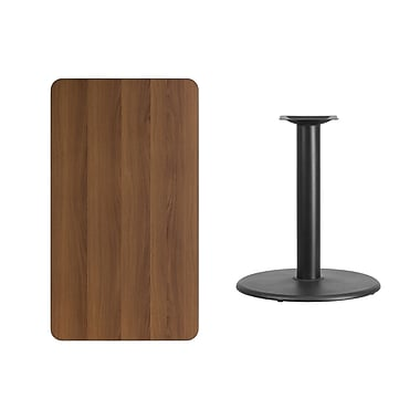 Flash Furniture 24'' x 42'' Rectangular Walnut Laminate Table Top with 24'' Round Table Height Base, Black (XUWA2442TR24)