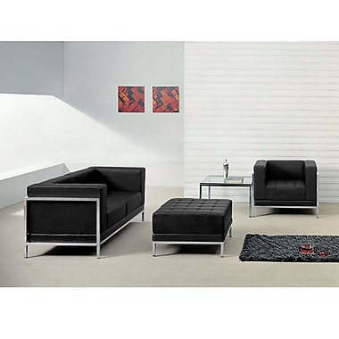 Flash Furniture Hercules Imagination Series Leather Loveseat, Chair and Ottoman Set, Black (ZBIMAGSET11)