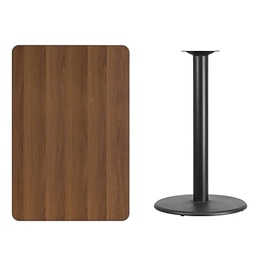 Flash Furniture 30'' x 45'' Rectangular Laminate Table Top, Walnut with 24'' Round Bar-Height Table Base (XUWA3045TR24B)