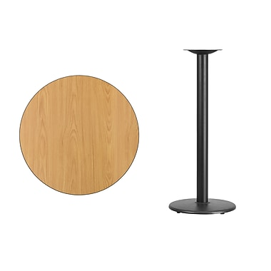 Flash Furniture 30'' Round Laminate Table Top, Natural with 18'' Round Bar-Height Table Base (XURD30NTTR18B)