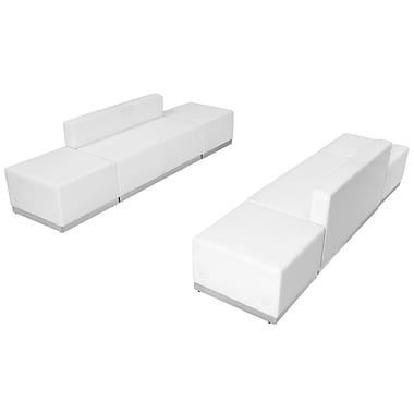 Flash Furniture Hercules Alone Series Leather Reception Configuration, 6 Pieces, White (ZB803700SWH)