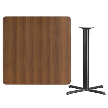 Flash Furniture 42'' Square Laminate Table Top, Walnut with 33'' x 33'' Bar-Height Table Base (XUWA4242T3333B)
