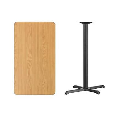 Flash Furniture 24'' x 42'' Rectangular Laminate Table Top, Natural, 22'' x 30'' Bar Height Table Base (XUNT2442T2230B)