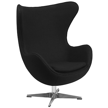 Flash Furniture Wool Fabric Egg Chair with Tilt-Lock Mechanism , Black (ZB12)