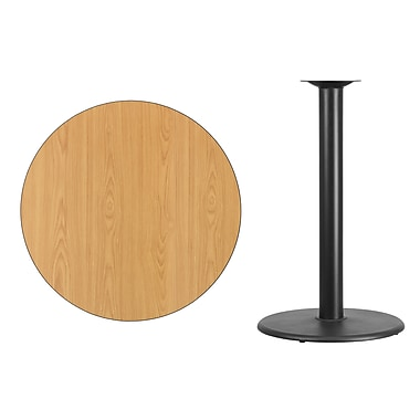 Flash Furniture 36'' Round Laminate Table Top, Natural with 24'' Round Bar Height Table Base (XURD36NTTR24B)