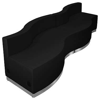 Flash Furniture Hercules Alone Series Leather Reception Configuration, 4 Pieces, Black (ZB803730SBK)