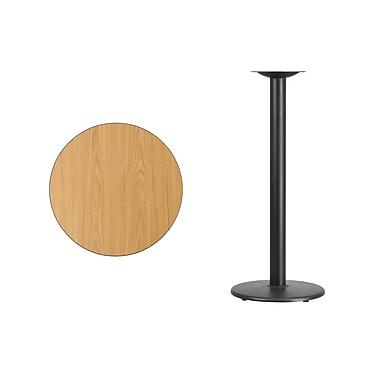 Flash Furniture – Table bistro ronde en stratifié fini naturel de 24 po avec base circulaire de 18 po (XURD24NTTR18B)