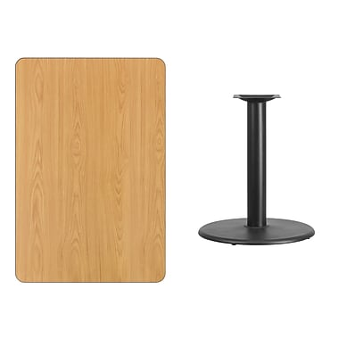 Flash Furniture 30'' x 45'' Rectangular Laminate Table Top, Natural with 24'' Round Table-Height Base (XUNT3045TR24)