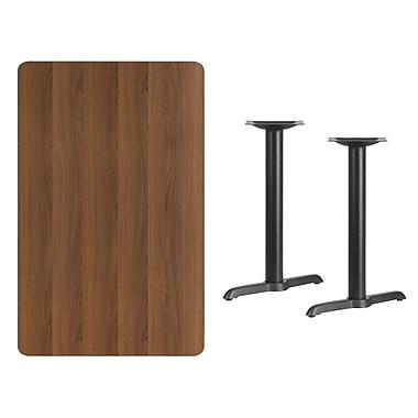 Flash Furniture – Table en stratifié noyer de 30 x 48 po avec 2 bases de 5 x 22 po (XUWA3048T0522)