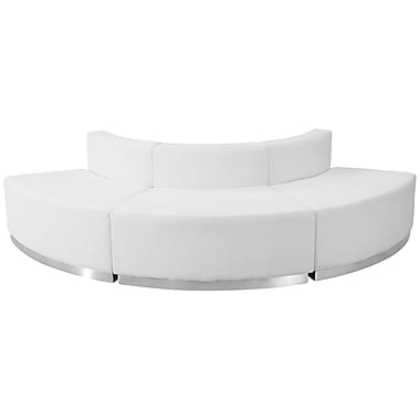 Flash Furniture Hercules Alone Series Leather Reception Configuration, 3 Pieces, White (ZB803800SWH)