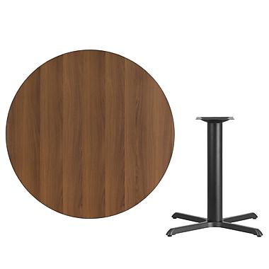 Flash Furniture – Table ronde en stratifié noyer de 42 po avec base de 33 x 33 po noire fini poudré (XURD42WAT3333)