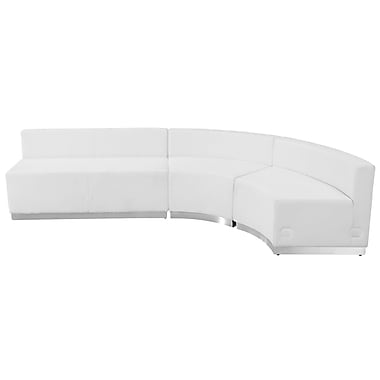 Flash Furniture Hercules Alone Series Leather Reception Configuration, White, 3 Pieces (ZB803750SWH)