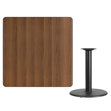 Flash Furniture – Table carrée en stratifié noyer de 42 po avec base circulaire de 24 po (XUWA4242TR24)