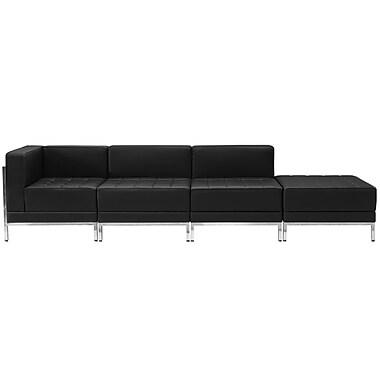 Flash Furniture – Mobilier modulaire HERCULES Imagination, chaises et pouf, cuir noir, 4 modules (ZBIMAGSET9)