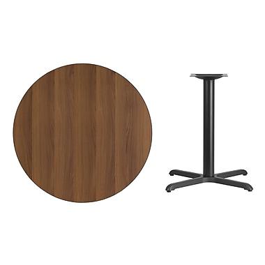 Flash Furniture 36''L Round Laminate Table with 30''W X Base, Walnut (XURD36WAT3030)