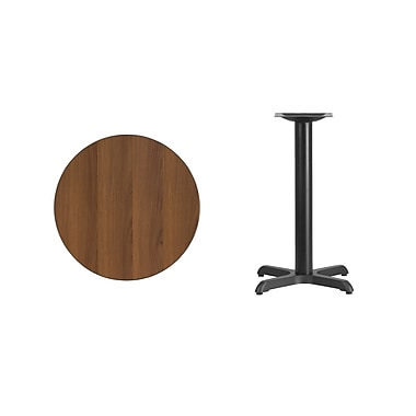 Flash Furniture 24'' Round Laminate Table Top, Walnut with 22'' x 22'' Table-Height Base (XURD24WAT2222)
