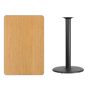 Flash Furniture 30'' x 45'' Rectangular Laminate Table Top, Natural with 24'' Round Bar-Height Table Base (XUNT3045TR24B)