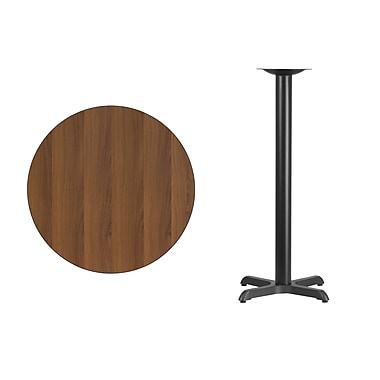 Flash Furniture 30'' Round Laminate Table Top, Walnut with 22'' x 22'' Bar-Height Table Base (XURD30WAT2222B)