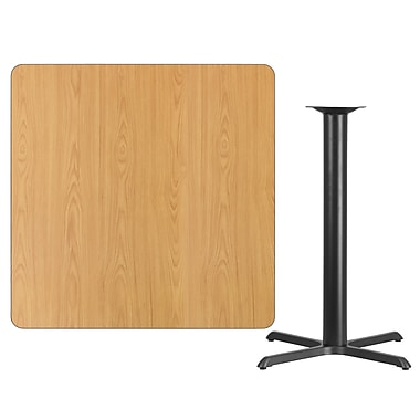 Flash Furniture 42'' Square Natural Laminate Table Top with 33'' x 33'' Bar Height Table Base, Black (XUNT4242T3333B)