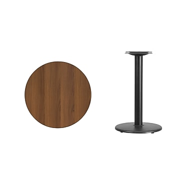 Flash Furniture 24'' Round Laminate Table Top, Walnut with 18'' Round Table-Height Base (XURD24WATR18)