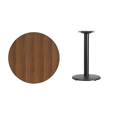 Flash Furniture 30'' Round Laminate Table Top, Walnut with 18'' Round Table Height Base (XURD30WATR18)