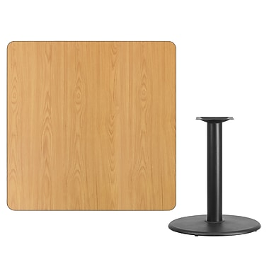 Flash Furniture 42''L Square Table with 24''W Round Table Height Base, Natural Laminate (XUNT4242TR24)