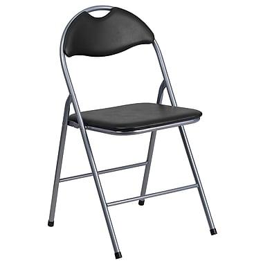 Flash Furniture – Chaise pliante à poignée HERCULES avec siège et dossier en vinyle, noir (YBYJ806H)