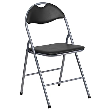 Flash Furniture Hercules Series Vinyl Metal Folding Chair, Black with Carrying Handle (YBYJ806H)