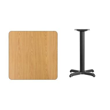 Flash Furniture – Table carrée en stratifié au fini naturel de 30 po avec base carrée de 22 L x 30 H po (XUNT3030T2222)