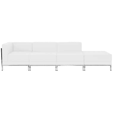 Flash Furniture – Mobilier modulaire HERCULES Imagination, chaises et pouf, cuir blanc, 4 modules (ZBIMAGSET9WH)