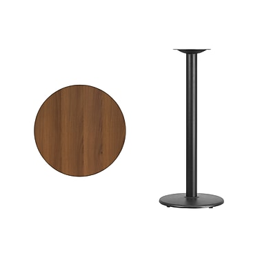 Flash Furniture 24'' Round Laminate Table Top, Walnut with 18'' Round Bar-Height Table Base (XURD24WATR18B)