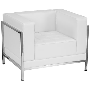Flash Furniture – Fauteuil contemporain série HERCULES Imagination, cuir blanc avec garnitures inox (ZBIMAGRTCNRWH)