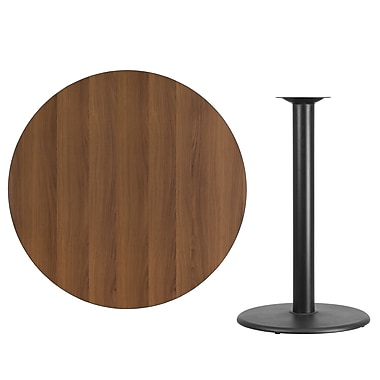 Flash Furniture 42'' Round Laminate Table Top, Walnut with 24'' Round Bar-Height Table Base (XURD42WATR24B)