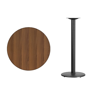 Flash Furniture 30'' Round Laminate Table Top, Walnut with 18'' Round Bar-Height Table Base (XURD30WATR18B)