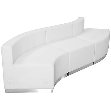 Flash Furniture Hercules Alone Series Leather Reception Configuration, White, 3 Pieces (ZB803830SWH)