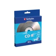 Verbatim ® CD Recordable Media with Branded Surface, 700MB, CD-R, 52x, 10/Pack (97955)