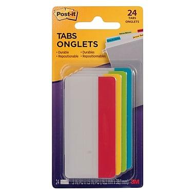 Post-it® - Onglets de classement, 3 po x 1 1/2 po, paq./24