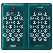Samsung Wallet Cover for Galaxy S5, Moschino Green with Silver Peace (EF-WG900RBESTA)