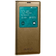Samsung Folio Flip Cover for Galaxy S5 S-View, Perforated Gold (EF-CG900BDESTA)