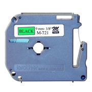"""Brother ® 26.2' x 0.35"""" Direct Thermal Non-Laminated Label Tape, Black on Green (M721)"""