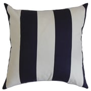 The Pillow Collection Leesburg Stripes Cotton Throw Pillow Cover; Blue White
