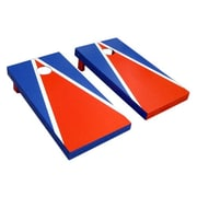 Victory Tailgate Matching Triangle Cornhole Bean Bag Toss Game; Orange and Navy Blue w/White Stripes