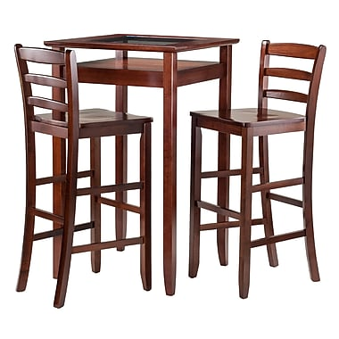 Winsome Halo 3-Piece Set Pub Table with Ladder Back Chairs, (94386)