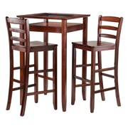 "Winsome Halo Pub Table with Two 30"" Ladder Back Stools, Walnut (94386)"